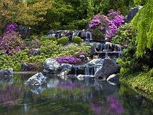 Fototapete Tapete Wasserfall Blumen Bäume Steine