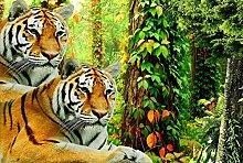 Fototapete Tier Wald Dschungel Tiger Mauer Fresco