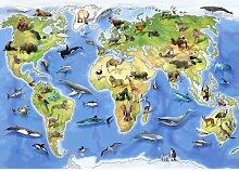 Fototapete Tiere Karte 1.04 m x 152.5 cm