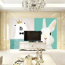 Fototapete Tiere weißer Bär & Kaninchen 200CM x