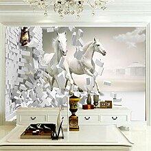 Fototapete Tierpferd mit gebrochener Wand 200CM x