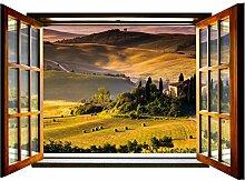 Fototapete Toskana Hills Giant Fenster Form Wall Mural nicht gewebt (717vez4), 201cm x 145cm (WxH)