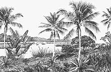 Fototapete tropische Landschaft mit Palmen Schwarz