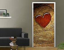 Fototapete Tür Papier No.56 'WITH ALL MY HEART' 100x210cm Herz Wald Baum Stein , Größe:210cm x 100cm