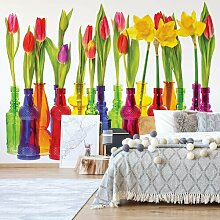 Fototapete Tulpen in Glasflaschen 3,12 m x 219 cm