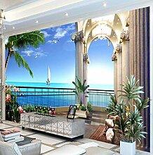 Fototapete Villa Balkon mit Meerblick