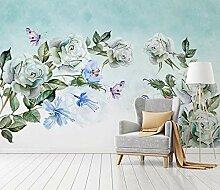 Fototapete Vintage Blume Schmetterling Tapete