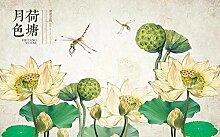 Fototapete Vintage Lotusblatt Hand Gezeichnet