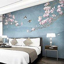 Fototapete Vlies Tapete Blumen, Vögel 3D