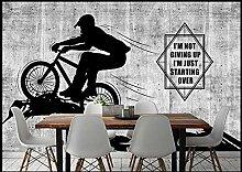 Fototapete Vlies Tapete Grauer Betonwandradfahrer