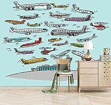 Fototapete Vlies Wanddeko Cartoon Flugzeug 200CM x