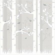 Fototapete Wald - Birkenwald mit Schmetterlingen