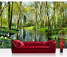 Fototapete WALD Vlies PREMIUM PLUS 350x245 cm Wand Foto Tapete Wand Bild Vliestapete - BEAUTIFUL CREEK - Wald Bäume Natur - no. 256