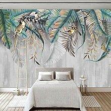 Fototapete Wandbild 3D Pflanze Blätter Vögel