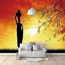 Fototapete Wandbild Afrikanische Frau mit Tontopf