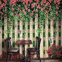 Fototapete Wandbild Blumenrose Schmetterling