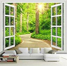 Fototapete Wandbild Fenster Waldweg Fernseher Sofa