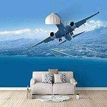 Fototapete Wandbild Flugzeug mit blauem Himmel