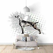 Fototapete Wandbild Hand gezeichneter Tierhund
