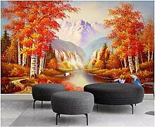 Fototapete Wandbild Herbstlandschaft mit Birken