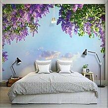 Fototapete Wandbild Lila Blumen Lavendel Fernseher