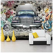 Fototapete Wandbild Retro-Auto mit gebrochener