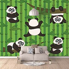 Fototapete Wandbild Riesenpanda mit grünem Bambus