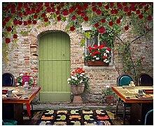 Fototapete Wandbild Rote Rosen auf Vintage
