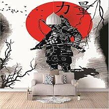 Fototapete Wandbild Samurai mit roter Sonnentinte