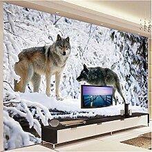 Fototapete Wandbild Tierischer Schneewolf