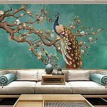 Fototapete Wandbild Vintage blauer Pfau Fernseher