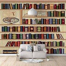 Fototapete Wandbild Vintage Bücherregal Fernseher