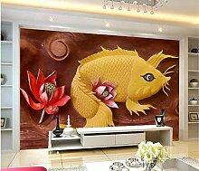 Fototapete Wandbild-Vlies-3D-Koi-geprägte
