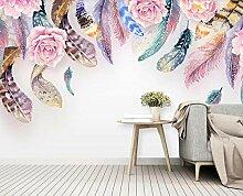 Fototapete Wandbilder 3D Effekt Aquarellfederblume