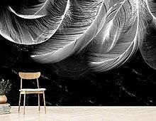Fototapete Wandbilder 3D Effekt Weiße Federn Aus