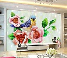 Fototapete Wandgemälde-Vlies-3D Blumen und Vögel