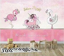 Fototapete Wandposter S Rosa Einhorn Flamingo