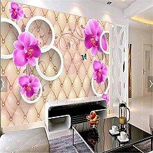 Fototapete Wandtapete 3D Schmetterling Blumen