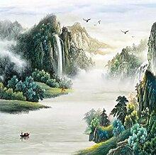 Fototapete Wasserfall, Berg, Fliegender Vogel