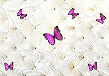 Fototapete weiss Polster Diamanten Schmetterlinge