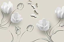 Fototapete Weisse Tulpen Zeichnung Ornamente beige