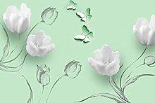 Fototapete Weisse Tulpen Zeichnung Ornamente Grün