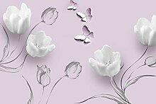Fototapete Weisse Tulpen Zeichnung Ornamente Rosa