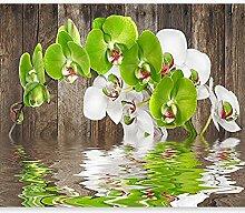 Fototapete Weißgrüne Orchidee 3D Wandbilder Für