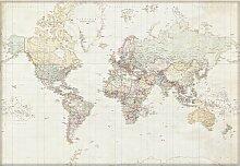 Fototapete Weltkarte auf Deutsch 254 cm x 368 cm