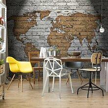 Fototapete Weltkarte auf Ziegelmauer 3,68 cm x 254