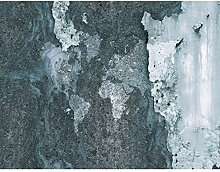 Fototapete Weltkarte Beton Blau Vlies Wand Tapete