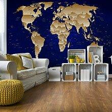 Fototapete Weltkarte in Blau/Gold 2,08 m x 146 cm