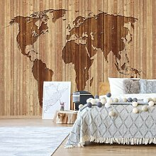 Fototapete Weltkarte mit Holztextur 3,12 m x 219