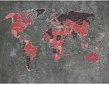 Fototapete Weltkarte Rot Vlies Wand Tapete